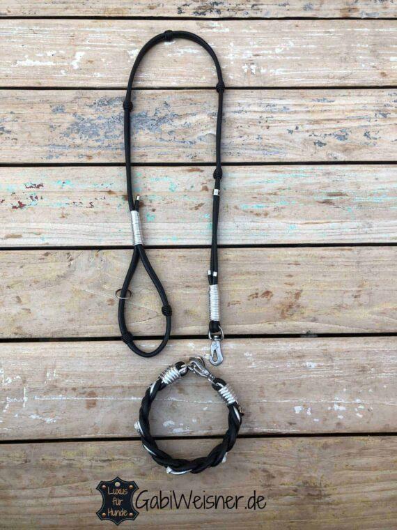 HundeLeine und Halsband Leder Mix in Schwarz Silber