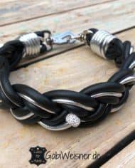 Hundehalsband-Leder-geflochten-Schwarz-Silber-Strass-1