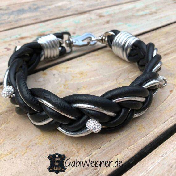 Hundehalsband Leder geflochten Schwarz Silber Strass
