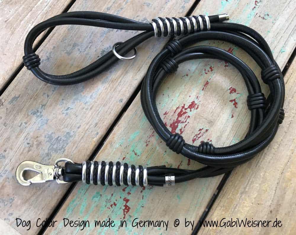 Luxus Lederleine mit Handschlaufe in Schwarz Silber