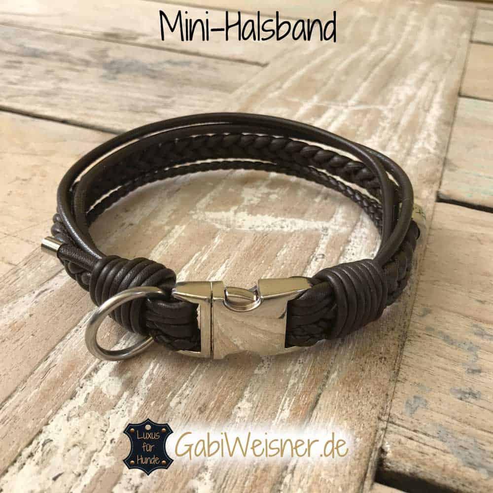 Lederhalsband für kleine Hunde mit Klickverschluss