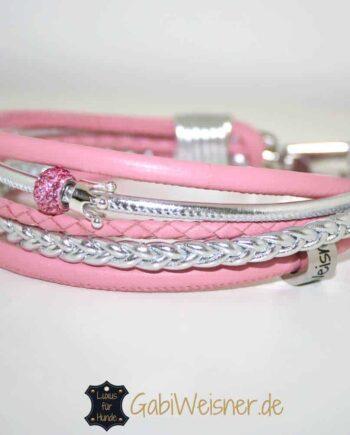 Mini Hundehalsband mit Strass und Krone Nappaleder in Rosa