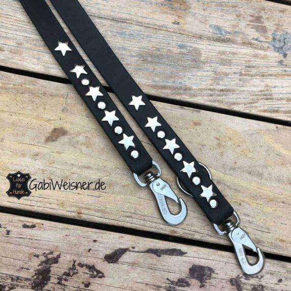 Fettlederleine mit Sternen Leder in Braun oder Schwarz 2,5 cm extra breit