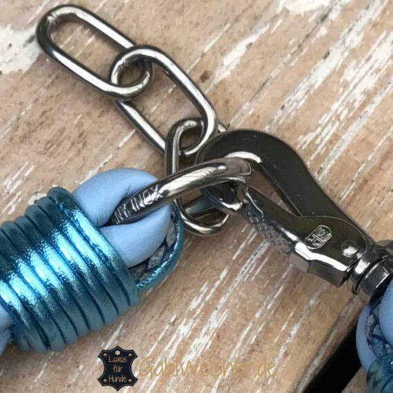 Hundehalsband Leder rund geflochten 30 bis 55 cm Halsumfang