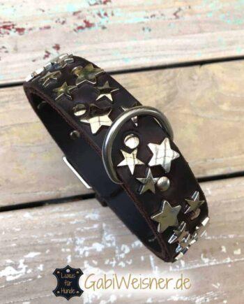 Hundehalsband mit Sternen Leder in Braun oder Schwarz