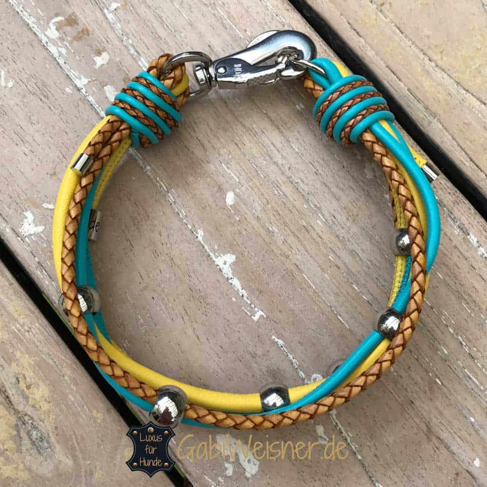 Hundehalsband mit Edelstahl Perlen 3 cm breit