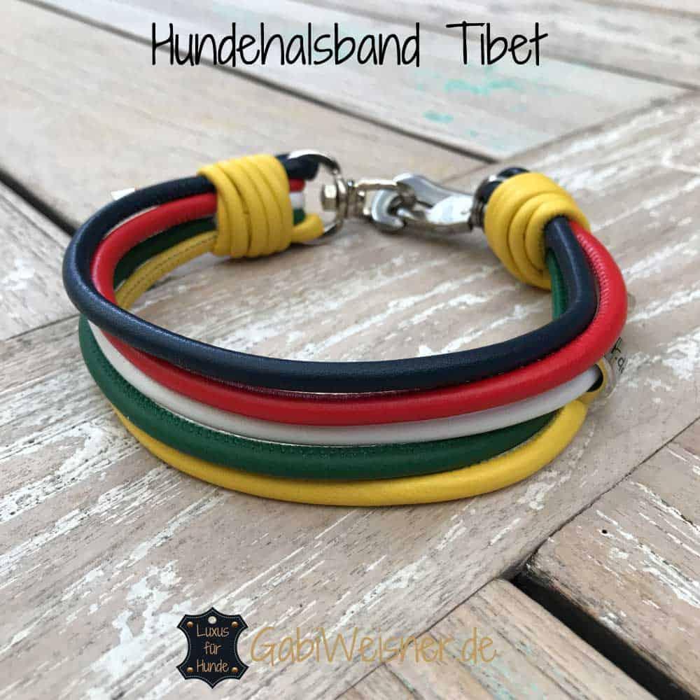 Hundehalsband Tibet Blau Rot Weiß Grün Gelb