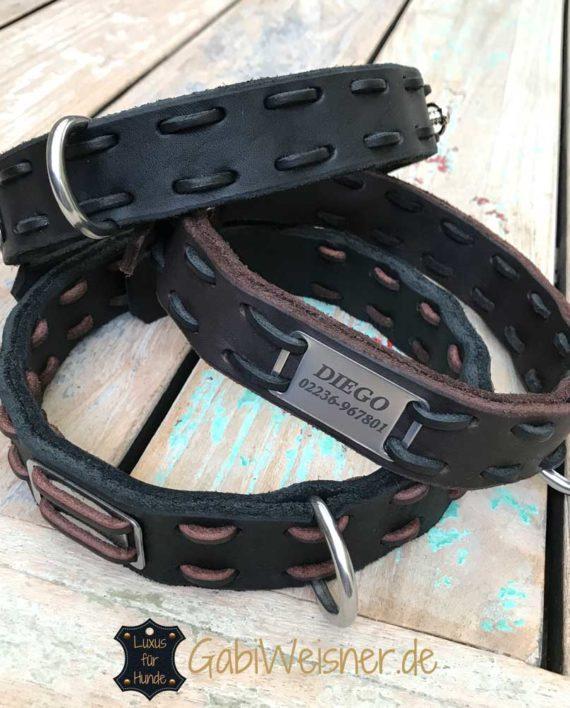 Halsband mit Namen Fettleder 3 cm oder 4 cm breit