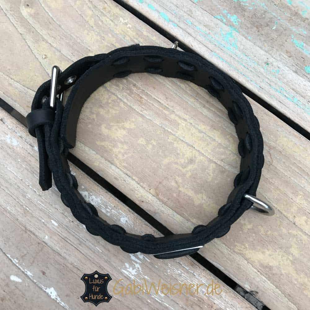 Halsband mit Namen Fettleder in 2,5 cm oder 3,5 cm breit