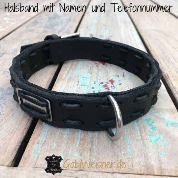 halsband mit namen und telefonnummer hundehalsband leder. Black Bedroom Furniture Sets. Home Design Ideas