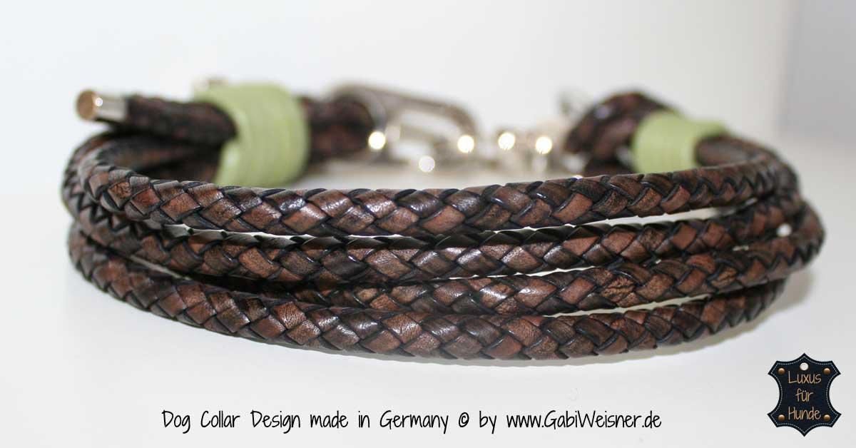 Hundehalsband mit Brummelhaken Leder 2,5cm / 3,5cm breit