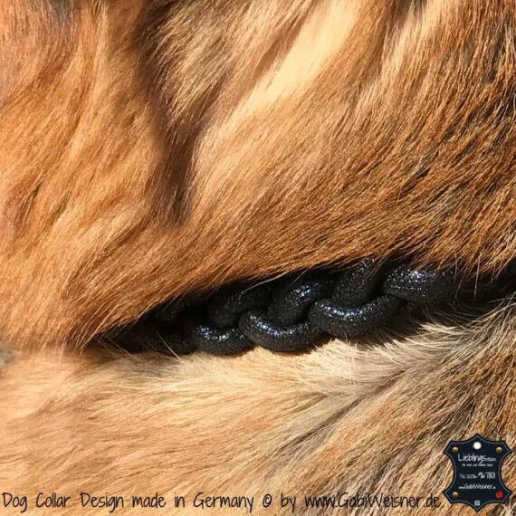 Hundehalsband Leder rund, Dunkelblau Gold