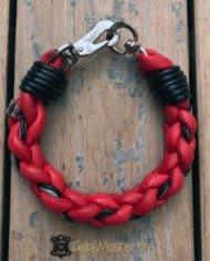 Hundehalsband-rund-Leder-Rot-Schwarz-2