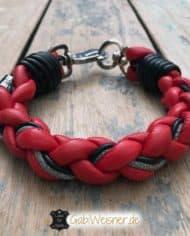 Hundehalsband-rund-Leder-Rot-Schwarz-3