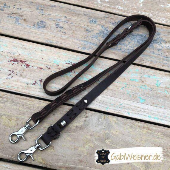 Hundeleine Leder 2 cm breit, Edelstahl Karabiner