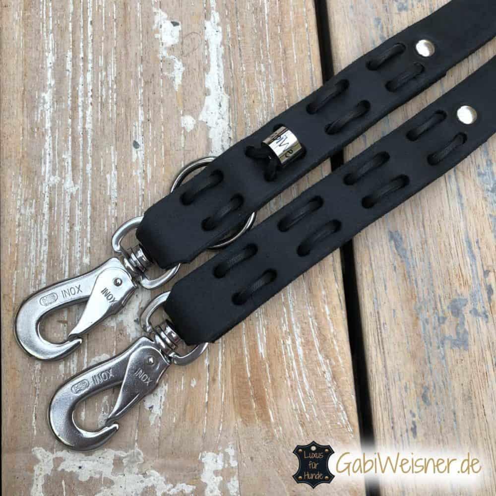 Hundeleine Fettleder 2,5 cm breit mit Karabiner nach Wunsch