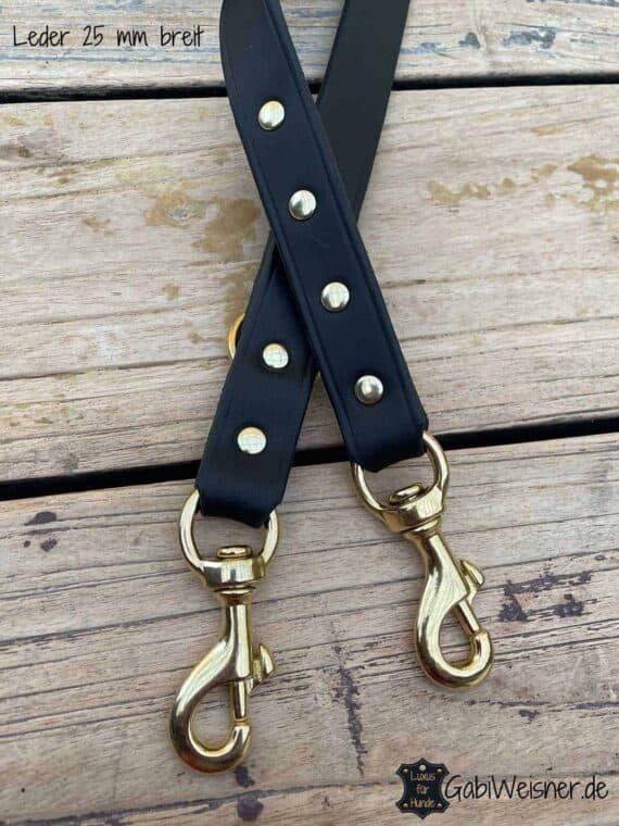 Hundeleine Leder 25 mm EXTRA BREIT. 2-fach oder 3-fach verstellbar. Bestückt mit großen Messing-Bolzen-Karabinern für große Hunde. Luxus Für Hunde. Gabi Weisner