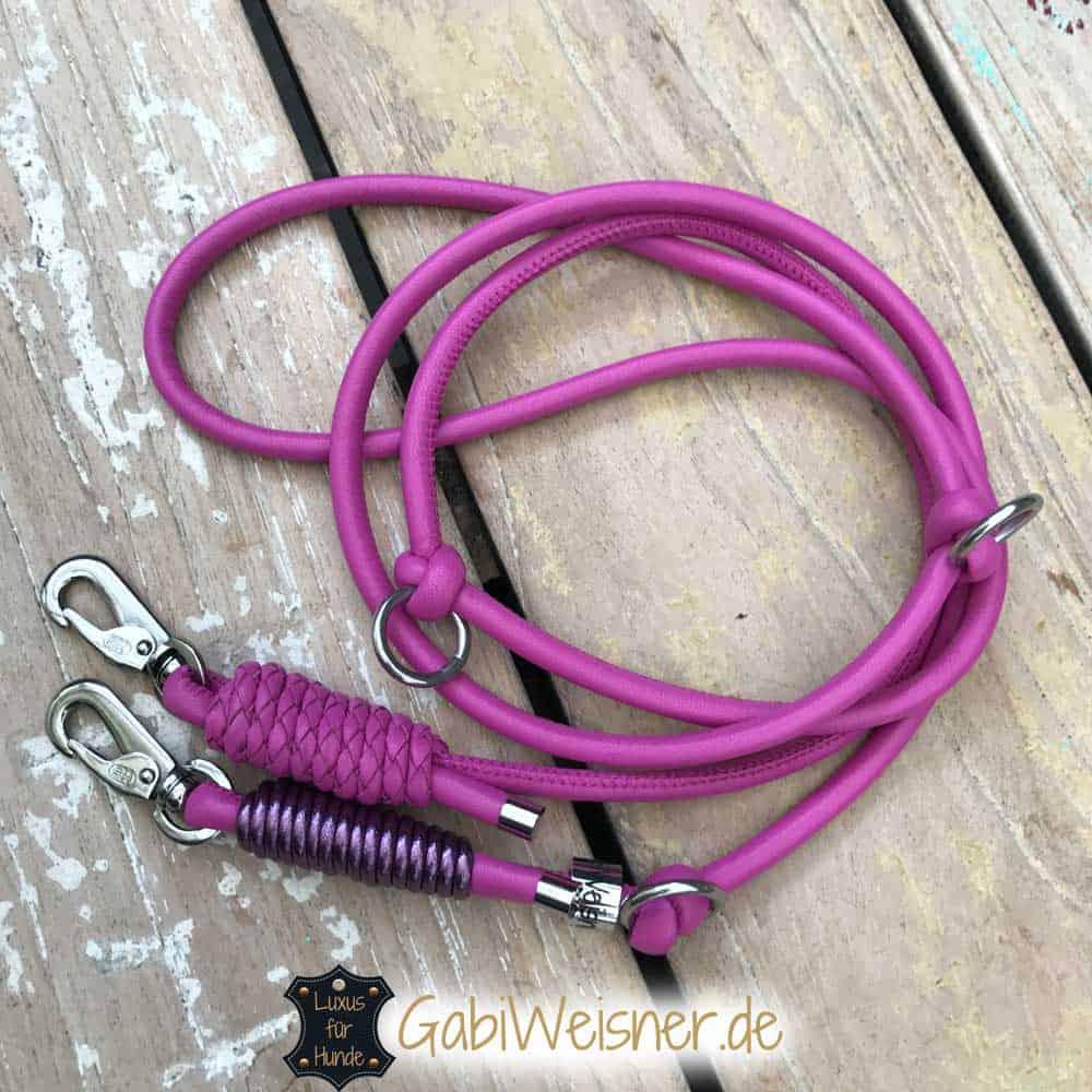 Lederleine in Pink für kleine Hunde