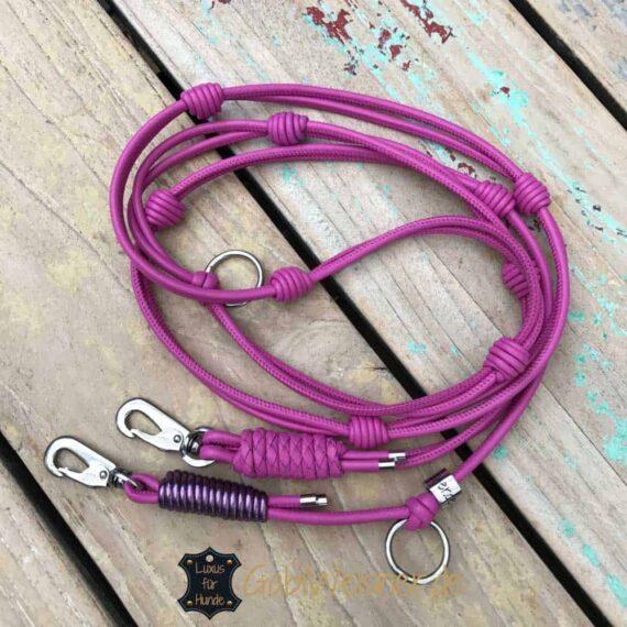 Führleine für kleine Hunde aus Leder in Pink