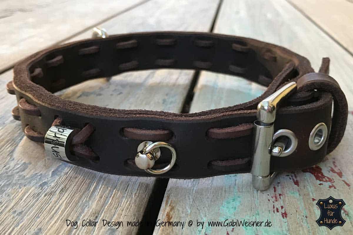 Hundehalsband aus Fettleder in Braun oder Schwarz 2,5 cm breit