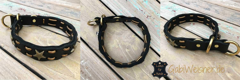 Hundehalsband Zugstopp Fettleder 3 cm breit