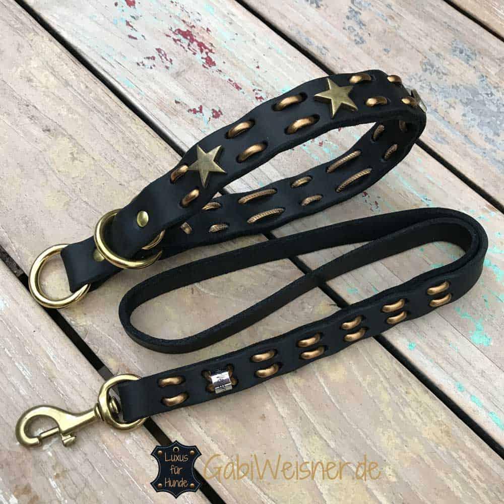 Hundehalsband Zugstopp Fettleder 3 cm breit mit Messing Beschlag