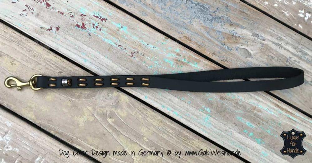 Kurze Hundeleine mit großer Handschlaufe Leder 2 cm breit, Steppmuster