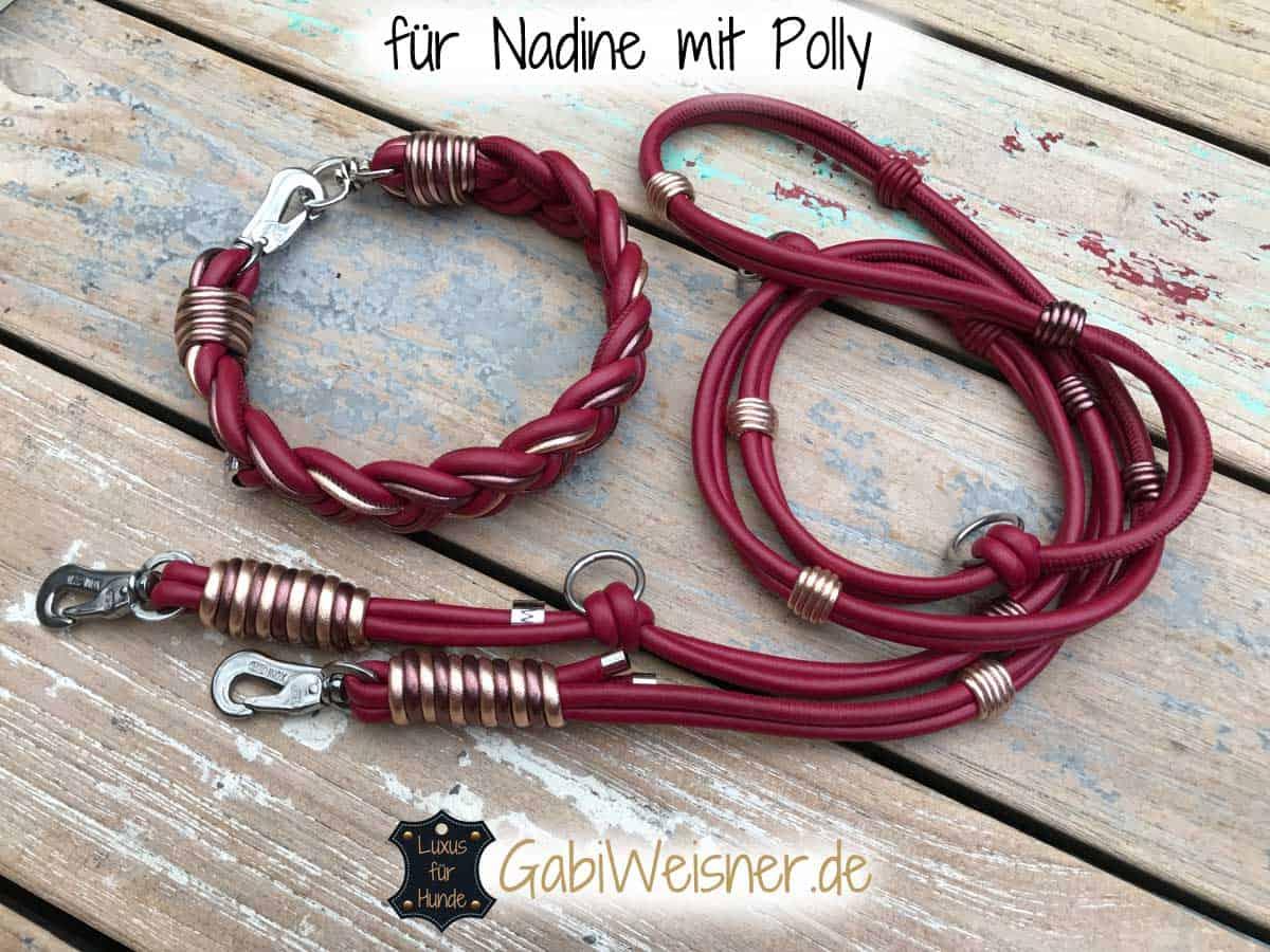 Hundehalsband aus Nappaleder 3 cm breit geflochten