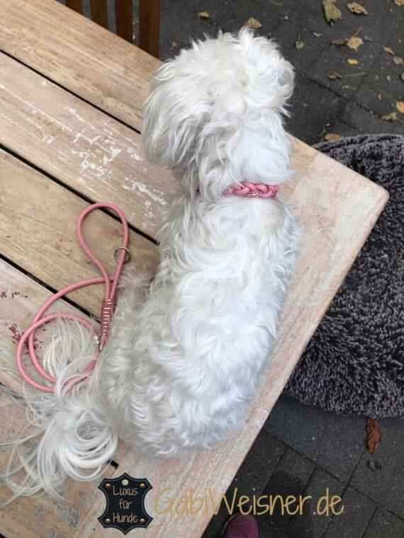 Hundeleine in Rosa mit Handschlaufe Leder 6 mm