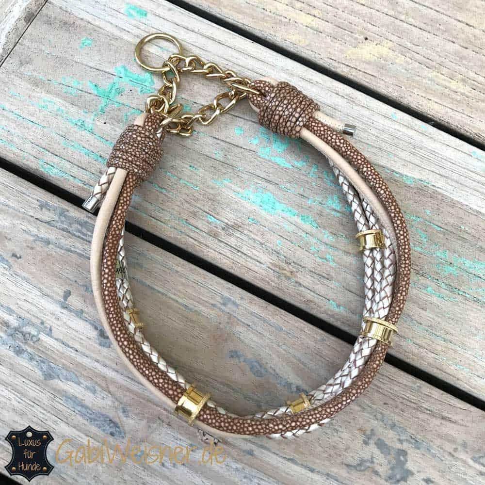 luxus halsband im leder mix mit 5 ohr tunnel hundehalsband leder luxus f r hunde. Black Bedroom Furniture Sets. Home Design Ideas
