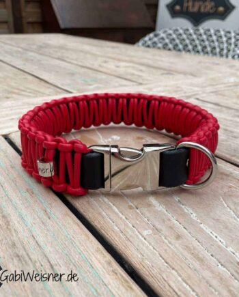 Hundehalsband mit Klickverschluss, Leder 35 mm breit, ROT