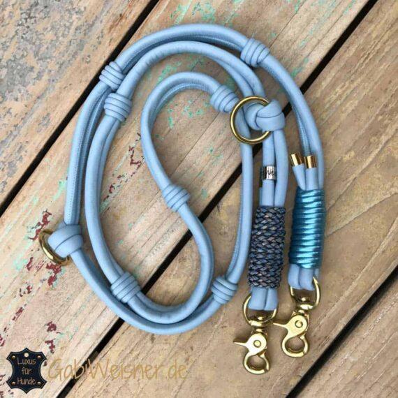 Exklusive Hundeleine für große Hunde Nappaleder in Hellblau