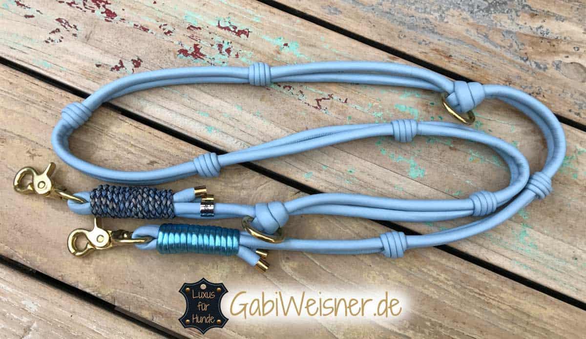 Hundeleine Original Doppelstrangleine aus Nappaleder in Hellblau