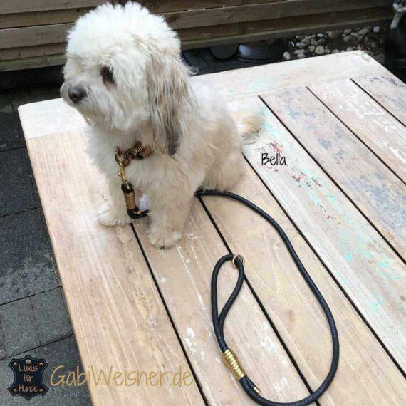 Edle Hundeleine mit Handschlaufe Leder 8 mm