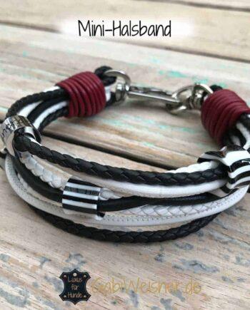Luxus Mini Halsband im Leder Mix mit 3 Ohr-Tunnel