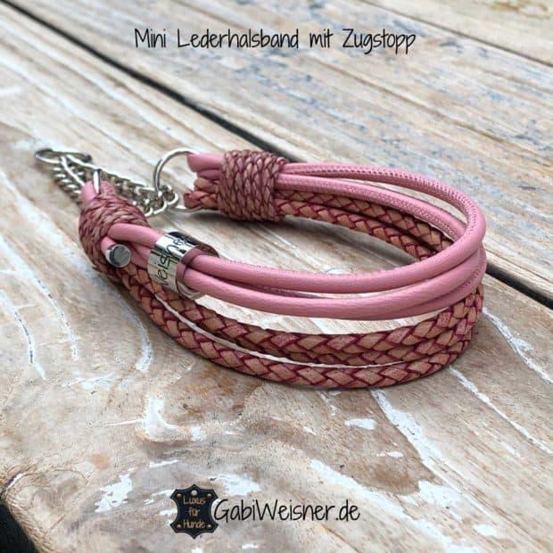 Mini Lederhalsband mit Zugstopp. Leder in Rosa.
