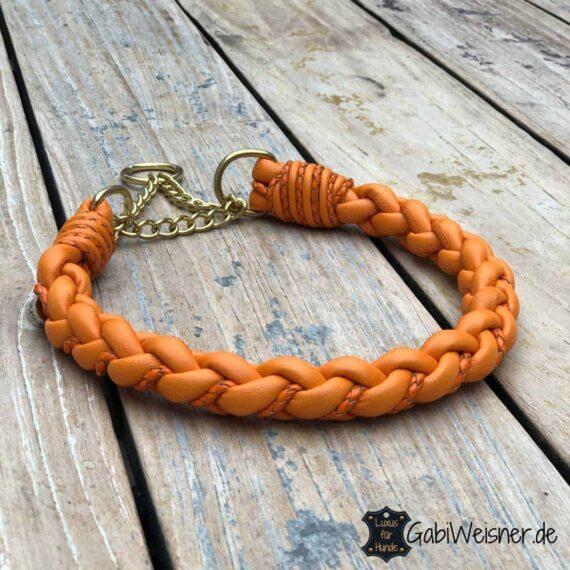 Halsband Leder rund geflochten in Orange mit Zugstoppkette