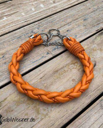 Halsband Leder rund geflochten in Orange mit Zugstoppkette. Für große Hunde