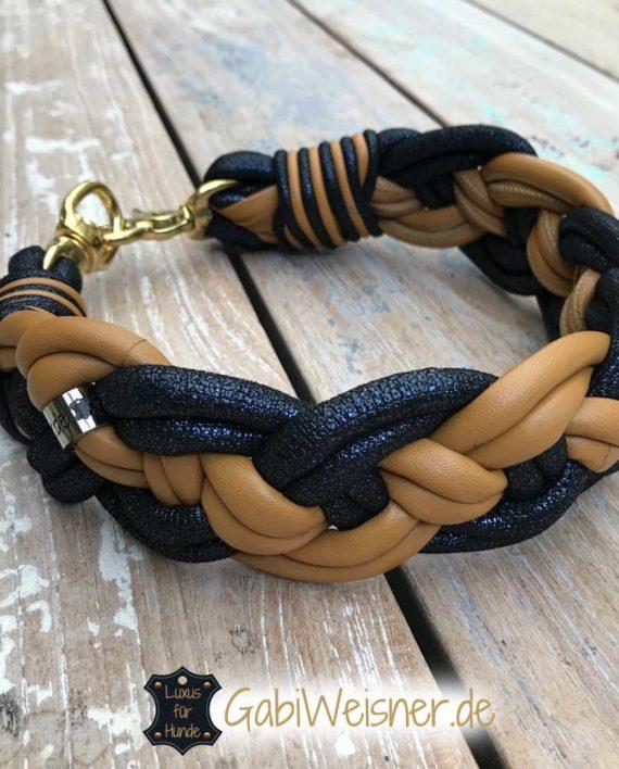 Hundehalsband Leder extra breit geflochten