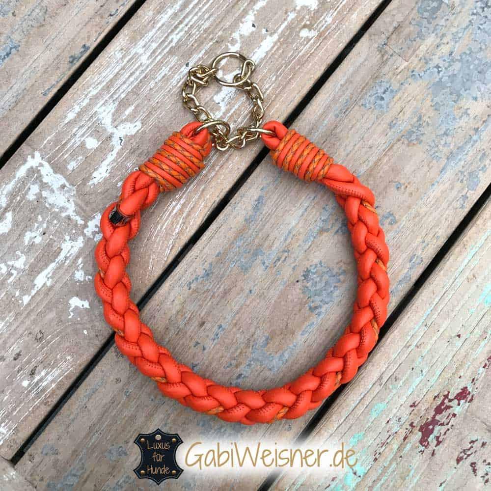 Halsband Leder rund geflochten Leder in Orange