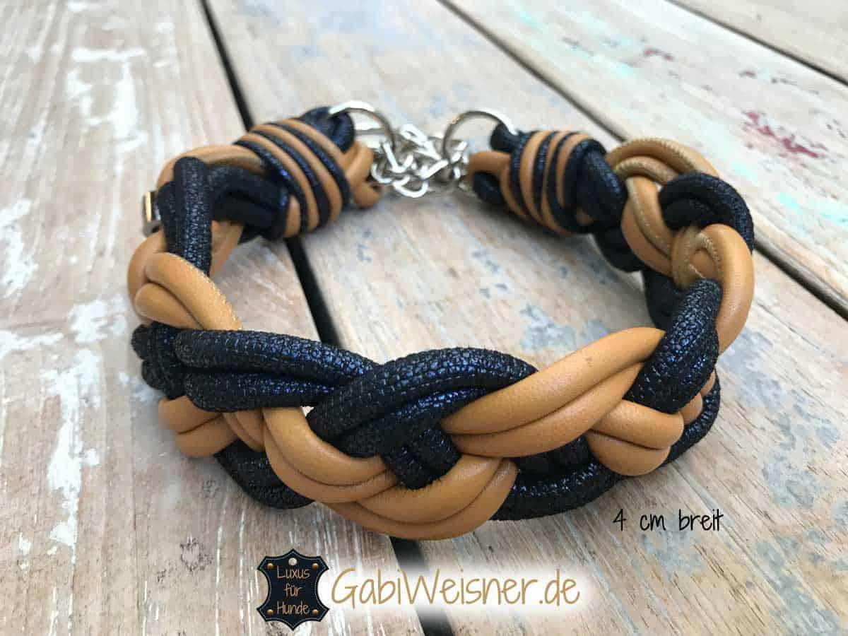 Hundehalsband Leder 4 cm breit geflochten in Cognac und Blau