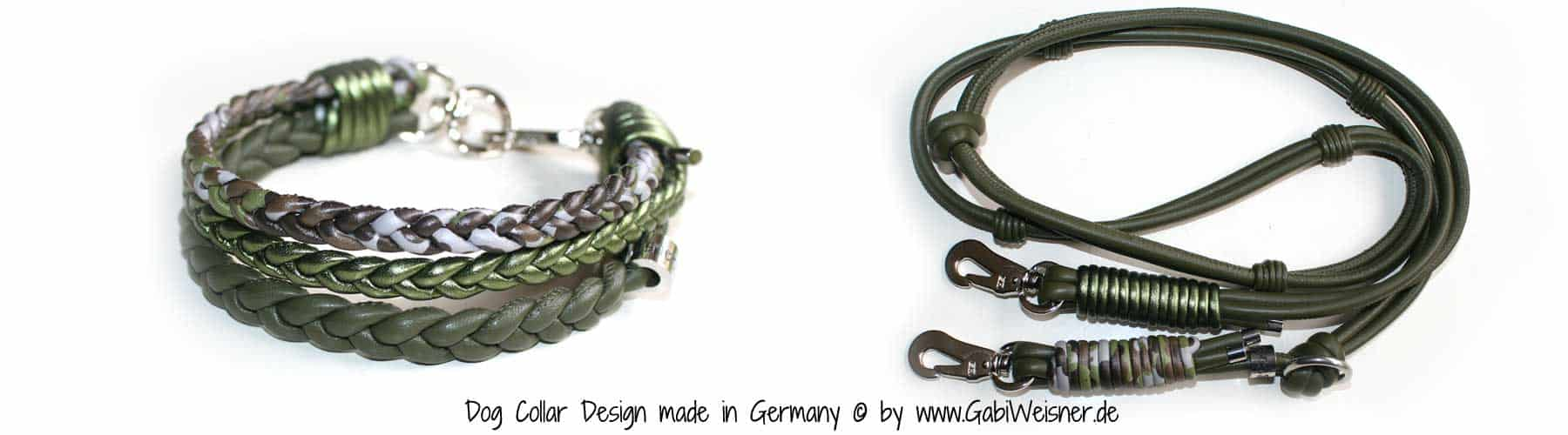 Hundeleine Leder Camouflage und Moos