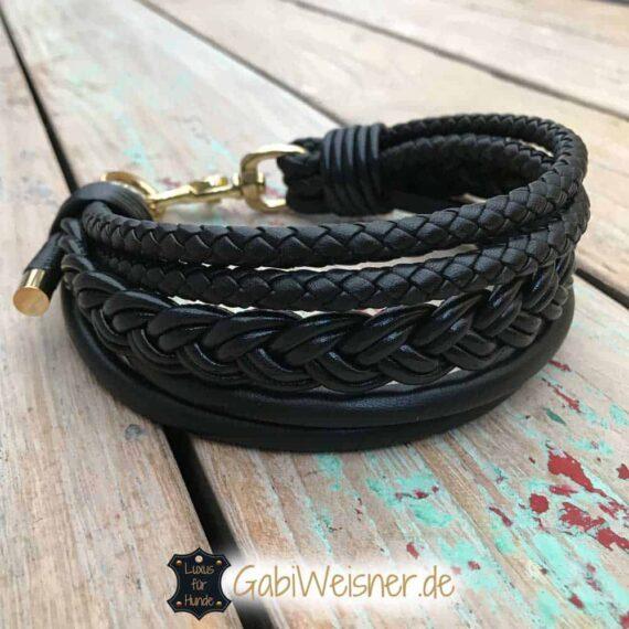 Hundehalsband 5 cm breit Leder Mix in Schwarz oder Braun
