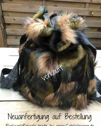 Rucksack Camouflage aus Fellimitat Neuanfertigung auf Bestellung