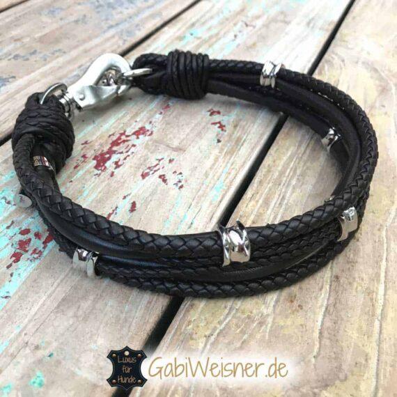 Hundehalsband Luxus mit Ohrtunnel Leder in Braun oder Schwarz