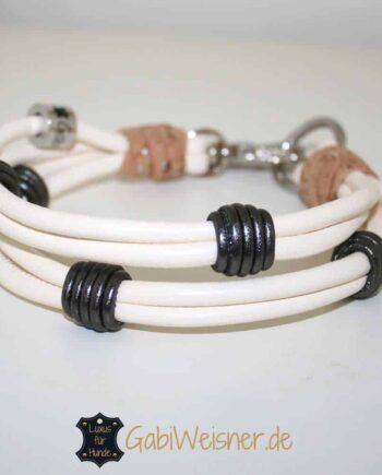 Mini Hundehalsband Nappaleder 2,5 cm breit. Beispiel in Elfenbein