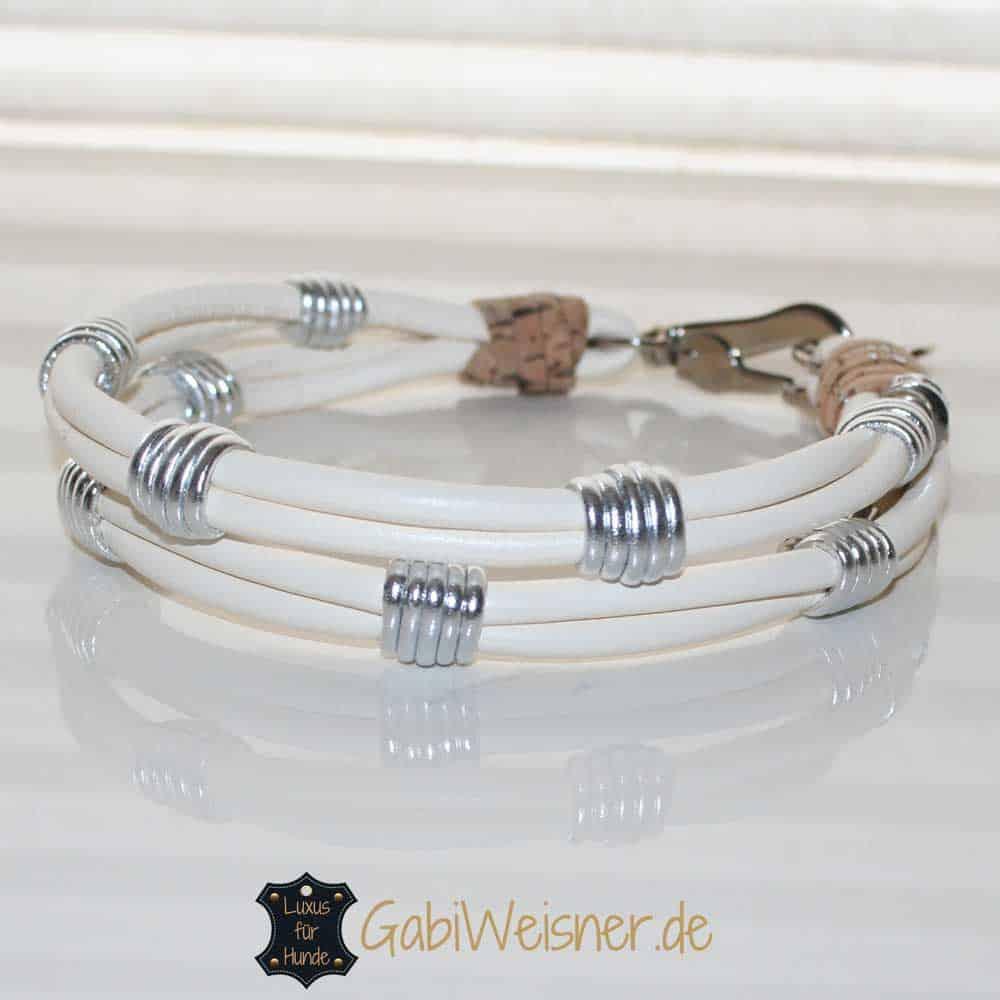 Hundehalsband Nappaleder 2,5 cm breit. Beispiel in Elfenbein