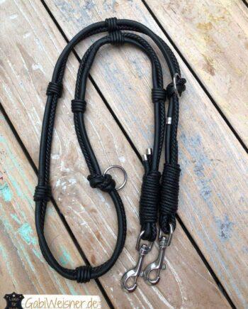 Luxus Hundeleine Leder in Schwarz Hundeleine Leder in Braun oder Schwarz