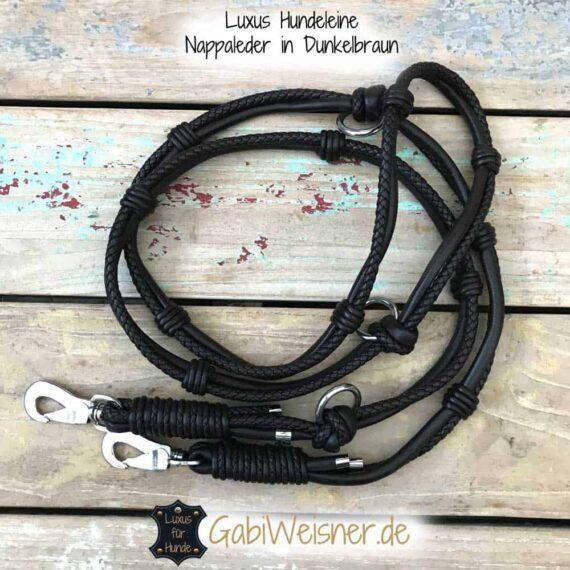 Luxus Hundeleine Leder in Braun oder Schwarz