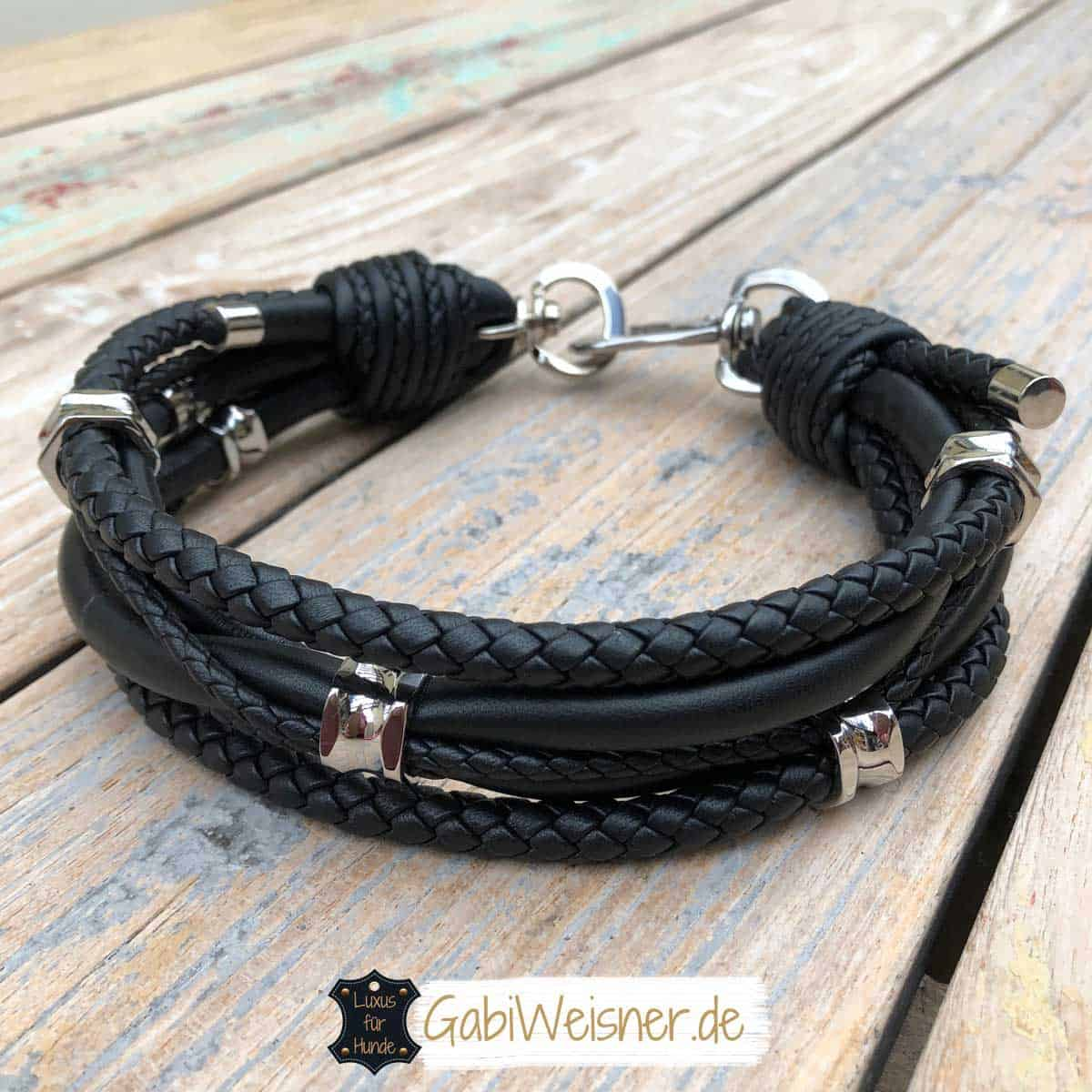 Luxus Hundehalsband Leder Mix in Schwarz